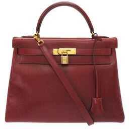 Hermes HERMES Inner stitch Kelly 32 Handbag Box calf / Box calf Rouge ash 〇W engraved 0046 Ladies