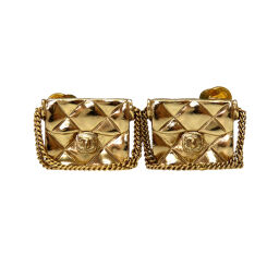 Chanel CHANEL Matrasse Coco Mark Bag Motif Earrings Metal / Metal Gold 0056 Ladies