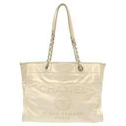 Chanel CHANEL Deauville A93257 Tote Bag Leather / Leather White 0068 Ladies
