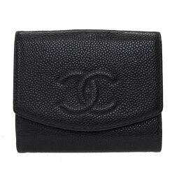 Chanel CHANEL W Hook Wallet Caviar Skin Bi-Fold Wallet Caviar Skin / Caviar Skin Black 0029 Ladies