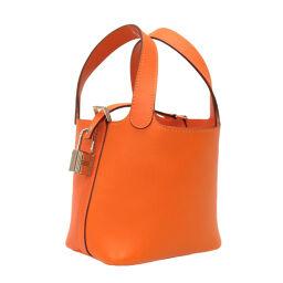 Hermes HERMES Micro Pico Tan Lock Handbag Vaux Swift / Swift Orange □ O Engraved 0018 Ladies