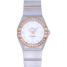 Omega OMEGA Quartz Constellation Blush Diamond Bezel Shell Dial PG Full Bar 123.25.24.60.55.001 Watch K18 Pink Gold / Diamond / Stainless Steel White Shell 0021 Ladies