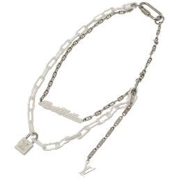 LVLOUIS VUITTON Collier Chain Letter Ring MP2566 Necklace Metal / Ceramic White 0058 Men's