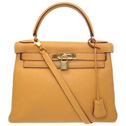 Hermes HERMES Inner stitch Kelly 28 Handbag Fjord Saffron □ B engraved 0048 Ladies