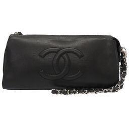 Chanel CHANEL Coco Mark Clutch Bag Caviar Skin / Caviar Skin Black 0075 Unisex
