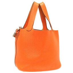 Hermes HERMES Picotan Lock PM Handbag Taurillon Clemence / Taurillon Clemence Orange □ M Engraved 0078 Ladies