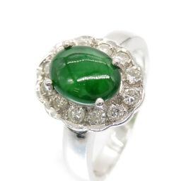 No brand no brand jade diamond Pt900 ring ring ring jade / Pt900 platinum / diamond No. 12 0100 Ladies