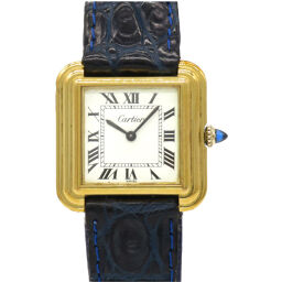 Cartier CARTIER Manual Winding Stepped Tank Antique Watch Stainless Steel / Matte Croco White 0121 Ladies