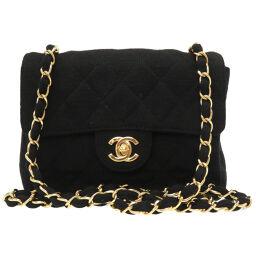Chanel CHANEL Mini Matrasse Coco Mark Turn Lock Shoulder Bag Jersey / Jersey Black 0019 Ladies
