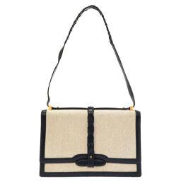 Hermes HERMES Vintage Shoulder Bag Toile Ash // Leather Navy 〇L Engraved 0060 Ladies