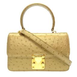 FENDI FENDI 2WAY Bag Handbag Embossed Leather / Embossed Leather Gold 0211 Ladies