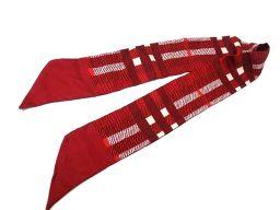 バーバリーBURBERRY チェック スカーフ シルク/シルク レッド 0332 ユニセックス