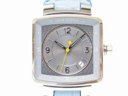 LVLOUIS VUITTON スピーディ タンブール Q2211 腕時計 ステンレススチール/型押しレザー ライトブルー 0493 レディース