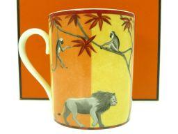 エルメスHERMES アフリカ マグカップ オブジェ 陶器/陶器 オレンジ 0050 レディース