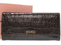ミュウミュウMIUMIU クロコ型押し 長財布 型押しレザー/型押しレザー ダークブラウン 0118 レディース