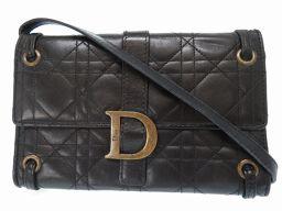 クリスチャンディオールChristian Dior ヴィンテージ カナージュ ショルダーバッグ レザー/レザー ブラック 0155 レディース