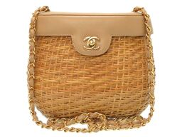 CHANEL CHANEL basket bag 5th place coco mark turn lock shoulder bag straw / leather beige 0024 women