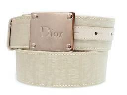 クリスチャンディオールChristian Dior トロッター ベルト キャンバス/レザー/キャンバス ホワイト 0068 メンズ