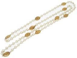 シャネルCHANEL ココマーク クラウン ティアラ 王冠 ネックレス フェイクパール/メタル ゴールド 0162 レディース
