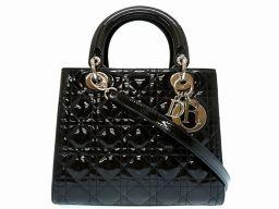 クリスチャンディオールChristian Dior 2way レディディオール カナージュ ハンドバッグ エナメル/エナメル ブラック 0219 レディース
