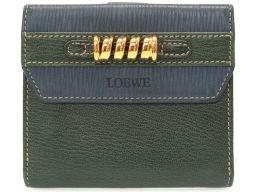 ロエベLOEWE ツイスト バイカラー 二つ折り財布 レザー/レザー グリーン 0102 ユニセックス