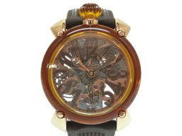 Gaga Milano hand-rolled manure 48 mm crystal 6091 watch crystal / stainless steel / rubber brown 0006 men's