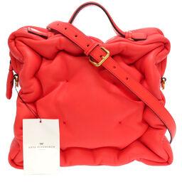 Anya Hindmarch Anya Hindmarch Chubby Cube (Chavy Cube) Handbag Leather / Leather Pink 0075 Women