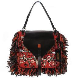 ETRO ETRO Tote Bag Leather / Canvas / Leather Orange 0200 Ladies