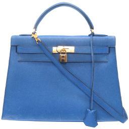 エルメスHERMES 外縫い ケリー32 ハンドバッグ クシュベル/クシュベル ブルーフランス 〇W刻印 0032 レディース
