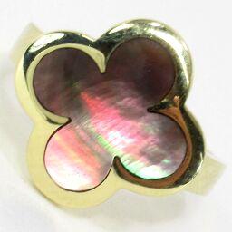 SELECT JEWELRY  四つ葉モチーフ リング・指輪 6.4g K18 ブラックシェル 11号 レディース【009】