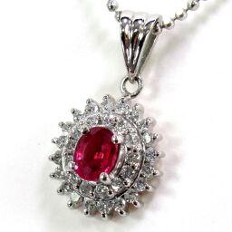 SELECT JEWELRY Necklace 4.9g pt850 / Pt900 Ruby 0.22ct Diamond 0.32ct Ladies [106]