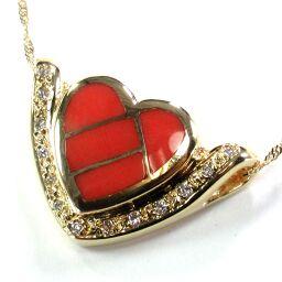 SELECT JEWELRY Necklace 5.5g K18 Coral Diamond 13P Ladies [106]