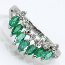 SELECT JEWELRY V-shaped ring / ring 3.5g Pt900 Emerald 0.55ct Diamond 0.05ct 11.5 Ladies [101]