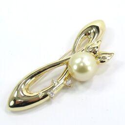 SELECT JEWELRY  ブローチ 13.6g K18 真珠約11.5mm ダイヤモンド0.11ct レディース【105】