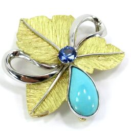 SELECT JEWELRY Pendant combined brooch 22.5g K18 / Pt900 Sapphire 0.96ct Turquoise 6.07ct Ladies [106]