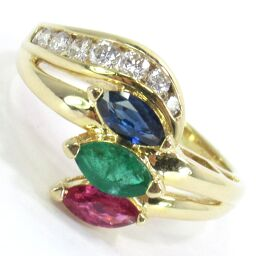 SELECT JEWELRY Ring / Ring 4.4g K18 Ruby Sapphire Emerald No. 9 Ladies [105]