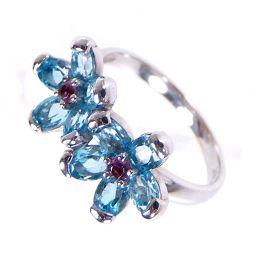 SELECT JEWELRY Flower motif ring · Ring 3.7 g K18 WG Blue Topaz Garnet No. 11 Women's 【1809】 【20 mrt】