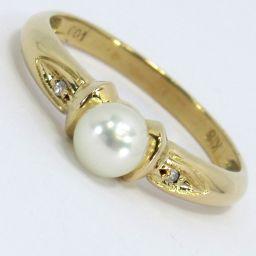 SELECT JEWELRY  リング・指輪 1.9g K18/ 真珠 ダイヤモンド0.01ct 10.5号 レディース【006】