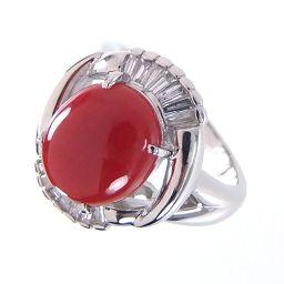 SELECT JEWELRY  リング・指輪 13.6g Pt900 珊瑚4.824ct ダイヤ0.45ct 15号 レディース【901】