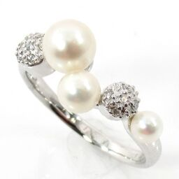 SELECT JEWELRY  リング・指輪 3.7g K18WG 真珠約3.5-5.5mm ダイヤモンド0.07ct 13号 レディース【109】
