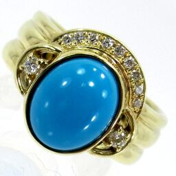 SELECT JEWELRY Ring / Ring 8.5g K18 Turquoise Diamond 0.11ct 8.5 Ladies [101]