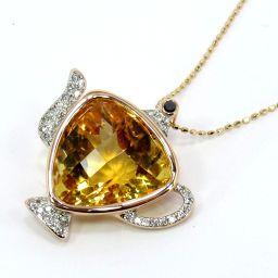 SELECT JEWELRY  ネックレス 6.5g K18PG シトリン ダイヤモンド0.25ct レディース【007】