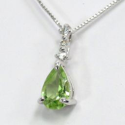SELECT JEWELRY  ネックレス 1.2g K18WG ペリドット ダイヤモンド0.02ct レディース【008】
