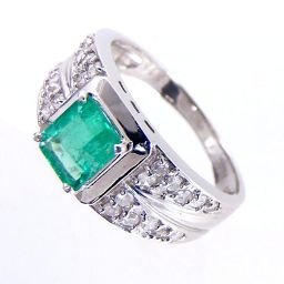 SELECT JEWELRY ring · ring 5.8g Pt 900 emerald 0.70ct diamond 0.30ct 14 number ladies 【903】