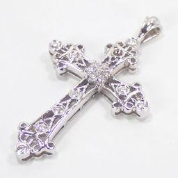 SELECT JEWELRY  クロス ペンダント 4.5g K18WG ダイヤモンド0.35ct ユニセックス【004】