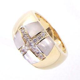 VANDOME ヴァンドーム クロスデザイン リング・指輪 8.3g K18 シェル ダイヤ0.17ct 13号 レディース【901】