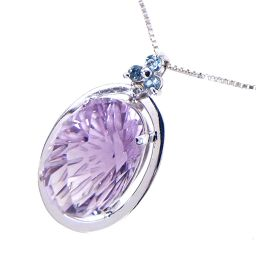 SELECT JEWELRY necklace 4.9g K18WG amethyst 6.97ct diamond 0.02ct women [905]