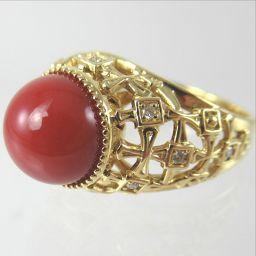 SELECT JEWELRY  リング・指輪 8.2g K18 赤サンゴ9mm ダイヤモンド0.09ct 14号 レディース【1810】