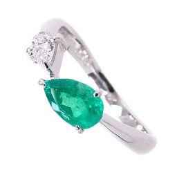 SELECT JEWELRY  リング・指輪 3.3g Pt900 エメラルド0.65ct ダイヤ0.19ct 13号 レディース【902】