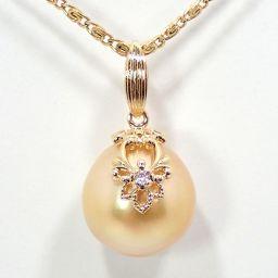 SELECT JEWELRY  パール ペンダント 2.9g K18 真珠約11.2mm ダイヤモンド1石 レディース【912】